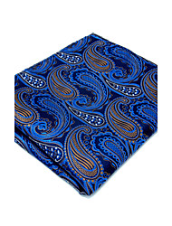 New Men's Pocket Square 100% Silk Dark Blue Paisley Dress Business For Men Handkerchief Jacquard Woven
