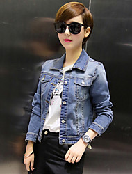 Women's Casual/Daily Street chic Fall Slim Thin Short Denim Jackets,Letter Shirt Collar Long Sleeve Blue Cotton Medium