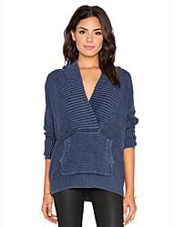 Damen Standard Pullover-Lässig/Alltäglich Street Schick Solide Blau Mit Kapuze Langarm Baumwolle Frühling / Herbst Dick