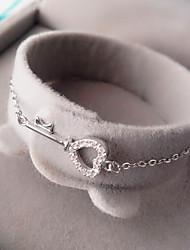 Feminino Pulseiras em Correntes e Ligações Prata de Lei Zircão Zircônia Cubica Personalizado Formato de Coração Forma Geométrica Amor
