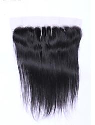 8-20inch # 1B Изготовлено вручную Прямые Человеческие волосы закрытие Умеренно-коричневый Швейцарское кружево 0.2g грамм СредниеРазмер