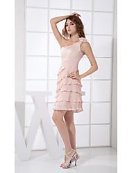 Short / Mini Chiffon Bridesmaid Dress Sheath / Column One Shoulder with Draping