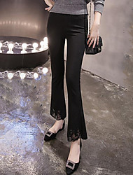 Women's Solid Black Bootcut Pants,Street chic
