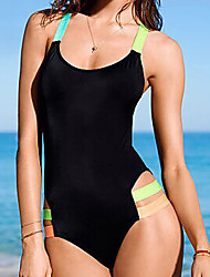 Women's Bandeau Sell Well Monokini,Cutout / Retro / Color Block / Solid / Sport Polyester Black