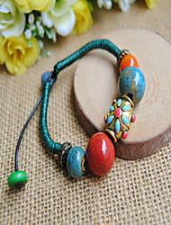 Ehtic Style Gem Stone Strand Adjustable Bracelet