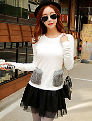 Women's Going out / Casual/Daily / Holiday Street chic / Punk & Gothic / Sophisticated T-shirt,Solid Round Neck