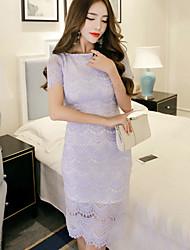 Damen Bodycon Kleid-Party/Cocktail Sexy Solide Rundhalsausschnitt Knielang Kurzarm Blau Polyester Sommer