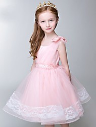 A-line Knee-length Flower Girl Dress - Tulle Sleeveless Square with Bow(s) / Pearl Detailing