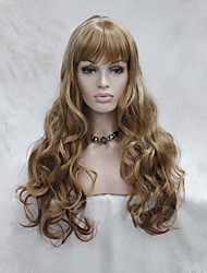 Fashion Ombre Light Blonde mix Light Strawberry Skin Top Curly Wavy Long Bangs Wig