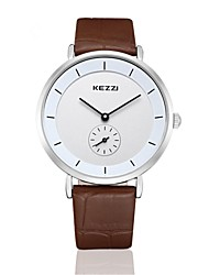 Men's Women's Fashion Watch Quartz Japanese Quartz Water Resistant / Water Proof Leather Band Casual Brown Brand KEZZI