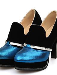 Damen-High Heels-Outddor Büro Lässig-Kunstleder-Blockabsatz-Club-Schuhe-Blau Silber Gold