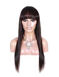 100% бразильские виргинские человеческие волосы парик прямые средние коричневые крышка фронта шнурка с челкой 1b # цвет