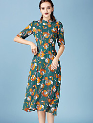 Mulheres Swing Vestido,Casual Vintage Floral Colarinho Chinês Médio Meia Manga Verde Poliéster Verão