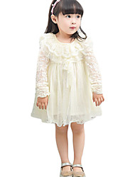 Girl's Casual/Daily Solid Dress,Polyester Fall Pink / Beige
