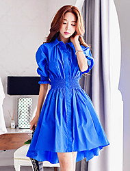 Women's Going out /Daily / Holiday Vintage / Street chic / Sophisticated Shirt Dress,Solid Shirt Collar Knee-length