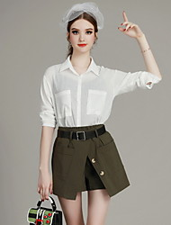 MIUCO  Casual/Daily Simple Summer Set,Solid Shirt Collar Long Sleeve Green Polyester Thin