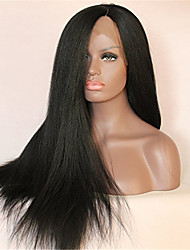 10-28 Inch Natural Black Color Light Yaki Straight Brazilian Virgin Human Hair Lace Front Wig With Baby Hair
