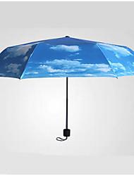 Azul Paraguas de Doblar Soleado y lluvioso textil Viaje / Lady / Hombre