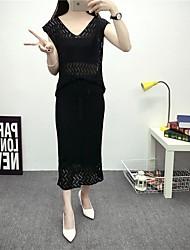 Women's Casual/Daily Simple Summer Set,Solid V Neck Short Sleeve Blue Cotton Medium
