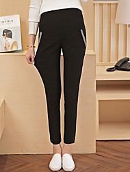 Maternity Simple Slim / Straight Pants,Cotton Stretchy