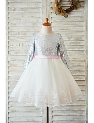 2017 A-line Knee-length Flower Girl Dress - Lace / Tulle / Sequined Long Sleeve Jewel with Bow(s) / Lace
