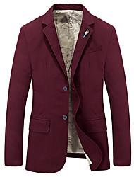 Men's Solid Work / Formal Blazer,Cotton Long Sleeve Black / Blue