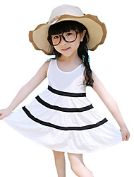 Girl's Casual/Daily Striped Dress,Cotton / Polyester Summer Black / White