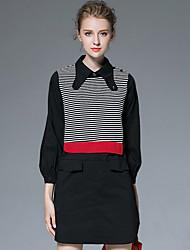 AFOLD® Women's Shirt Collar Long Sleeve Above Knee Dress-6027