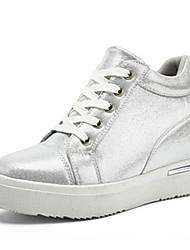 Damen-Sneaker-Lässig-Kunstleder-Flacher Absatz-Komfort-Schwarz / Silber