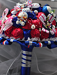 """Bouquets de Noiva Redondo Rosas Buquês Casamento Cetim 9.06""""(Aprox.23cm)"""