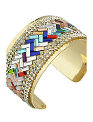 Colorful Rhinestone Wide Cuff Bracelets