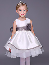 A-line Knee-length Flower Girl Dress - Satin Sleeveless Jewel with Bow(s) / Flower(s)