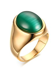 Anéis Vintage Pesta / Diário / Casual Jóias Aço Titânio / Opala Masculino Anéis Statement 1pç,8 / 9 / 10 / 11 Verde