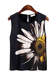 Women's Going out Simple / Cute Summer Tank Top,Floral Round Neck Sleeveless Black Rabbit Fur Thin