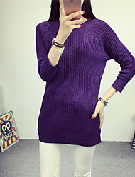Damen Lang Pullover-Lässig/Alltäglich Einfach Solide Lila Rundhalsausschnitt ¾-Arm Baumwolle Herbst / Winter Mittel