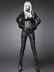 Punk mulheres delírio preto / calças skinny prata, vintage