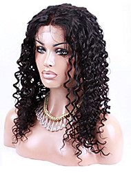 EVAWIGS U Part Middle Parting Kinky Tight Curly Brazilian Virgin Remy Hair Full Lace Front Wigs Natural Black 1B