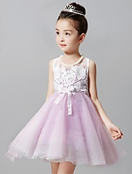 A-line Short / Mini Flower Girl Dress - Tulle Sleeveless Jewel with Lace / Pearl Detailing