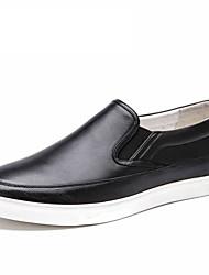 Черный-Мужской-Для прогулок Для офиса Повседневный-Кожа-На плоской подошве-Удобная обувь-Мокасины и Свитер