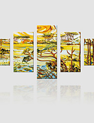 JAMMORY Canvas Set Landscape ,Five Panels Gallery Wrapped, Ready To Hang Vertical Print No Frame Castle Painting Tree