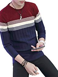 Herren Pullover-Einfarbig Freizeit Baumwolle Lang Blau / Rot / Beige