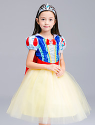 Ball Gown Tea-length Flower Girl Dress - Satin / Tulle Short Sleeve High Neck with Bow(s) / Ruffles