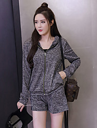 Women's Going out Simple Summer Set,Solid Hooded Long Sleeve Gray Cotton / Polyester Medium