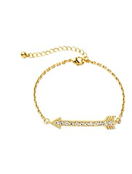 Bohemian Rhinestone Chain Bracelets Golden Arrow Bracelet Fashionable Geometric Alloy Jewellery