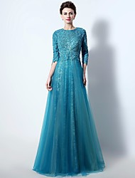 Formal Evening Dress A-line Jewel Floor-length Lace / Tulle with Appliques / Beading / Lace