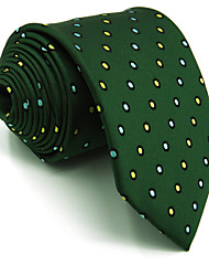 Men's Necktie Tie Green Dots 100% Silk Business Dress Casual Extra Long For Men Jacquard Woven