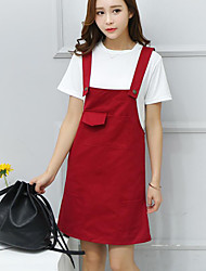 Women's Casual/Daily Cute Loose Dress,Solid Round Neck Above Knee Sleeveless Red Polyester Summer