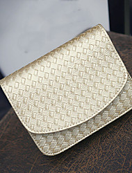 Women PU Casual Shopping Plaid Pure Color Diagonal Weave Magnetic Shoulder Bag