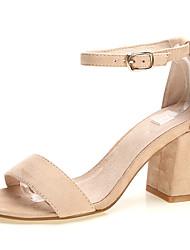 Women's Shoes Fabric Summer Heels / Open Toe Sandals Office & Career / Dress / Casual Chunky Heel Buckle Black /