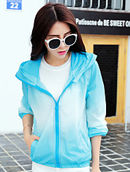 Women's Casual/Daily Simple Summer Cloak/Capes,Color Block Hooded Long Sleeve Blue / Pink / Green / Purple Nylon Thin